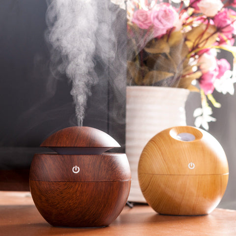 USB Wooden Ultrasonic Aroma Humidifier Air Essential Oil with Color Changing LED Lamp - MooBooExpress