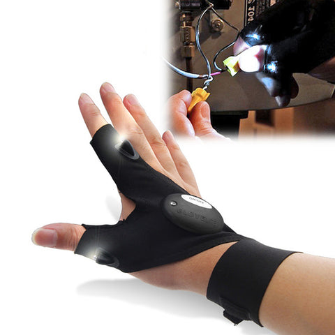 ZANLURE Multifunctional Fishing Fingerless Glove, LED Repair Flashlight Outdoors Tool