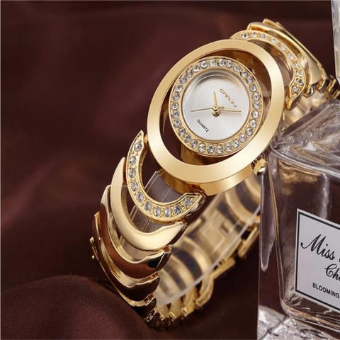 Luxury Women Quartz Bracelet Watch, Fashion Rhinestones Ladies Dress Watch - MooBooExpress
