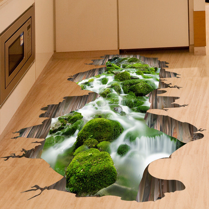 3D Stream Floor Decor Removable Mural Decals Vinyl, Art Home Decoration