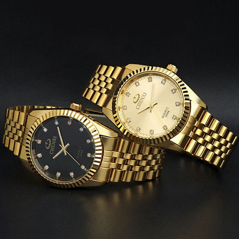 CHENXI Crystal Gold Stainless Steel Waterproof Quartz Watch