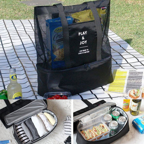Honana Lunch Bag Insulated Cooler Picnic Bag, Mesh Beach Bag Food Drink Storage
