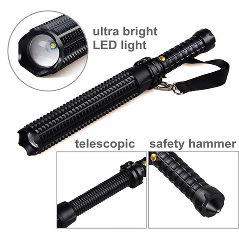 DANIU Telescopic Zoomable LED Emergency Self Defense Flash Torch Hammer - MooBooExpress