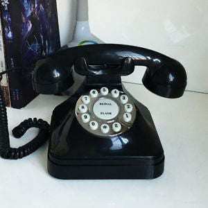 Vintage Retro Antique Phone, Wired Corded Landline Telephone Black - MooBooExpress