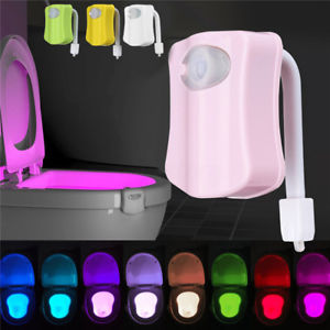 SOLMORE Motion Sensor 8 Colors LED Toilet Night Light Bathroom Lamp