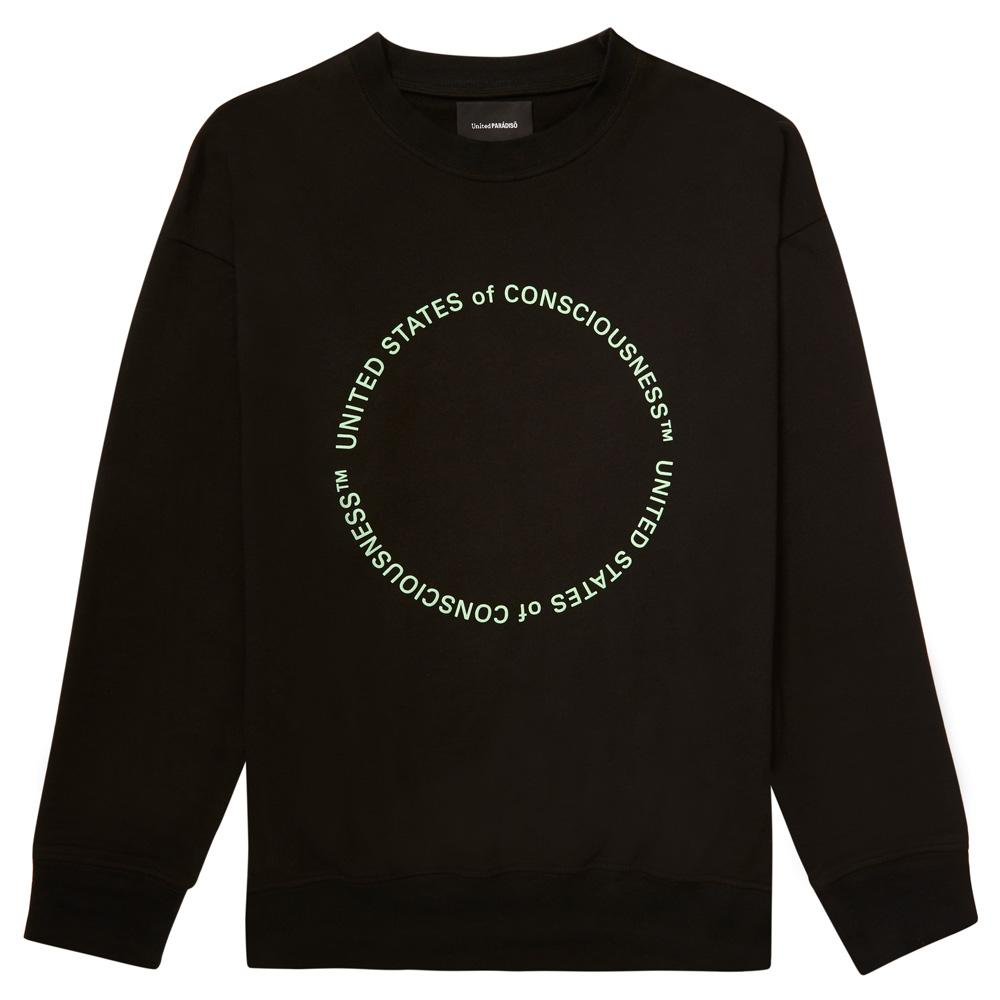 Load image into Gallery viewer, BLACK 'UNITED STATES OF CONSCIOUSNESS' ORGANIC SWEATSHIRT
