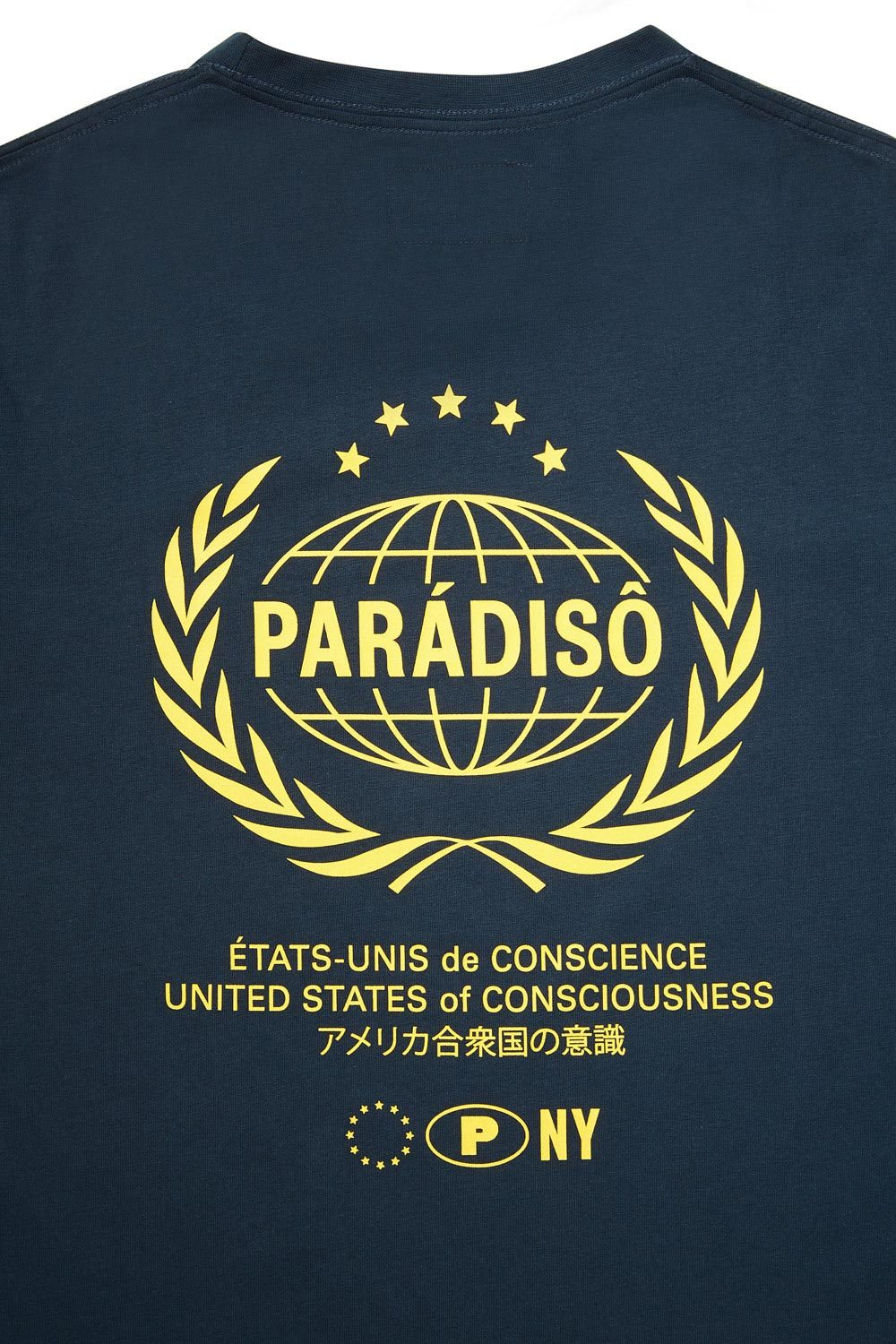 Load image into Gallery viewer, Paradiso Navy Crested Short-Sleeved Supima T-Shirt Back Detail