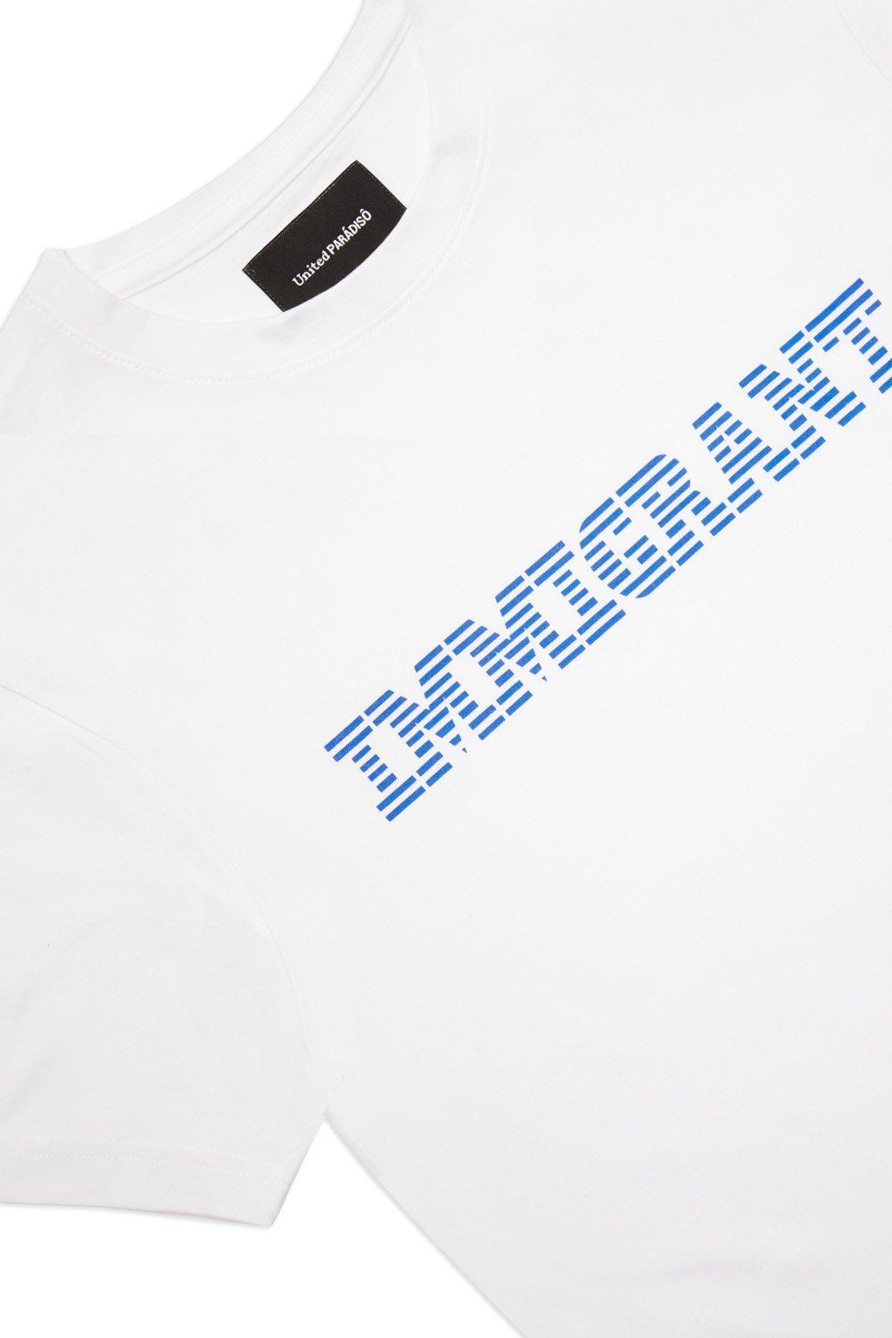 Load image into Gallery viewer, Paradiso White Immigrant Short-Sleeved Supima Charity T-Shirt Front Detail