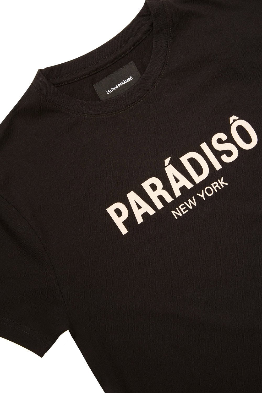 Load image into Gallery viewer, Paradiso Black Logo Short-Sleeved Supima T-Shirt Front Detail