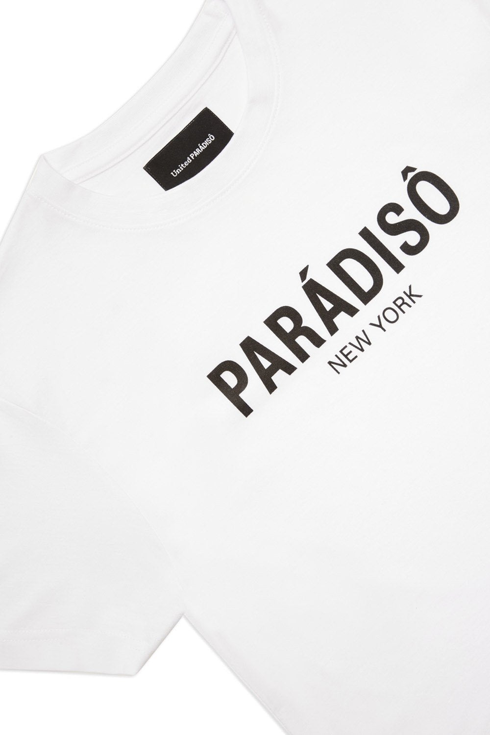 Load image into Gallery viewer, Paradiso White Logo Short-Sleeved Supima T-Shirt Front Detail