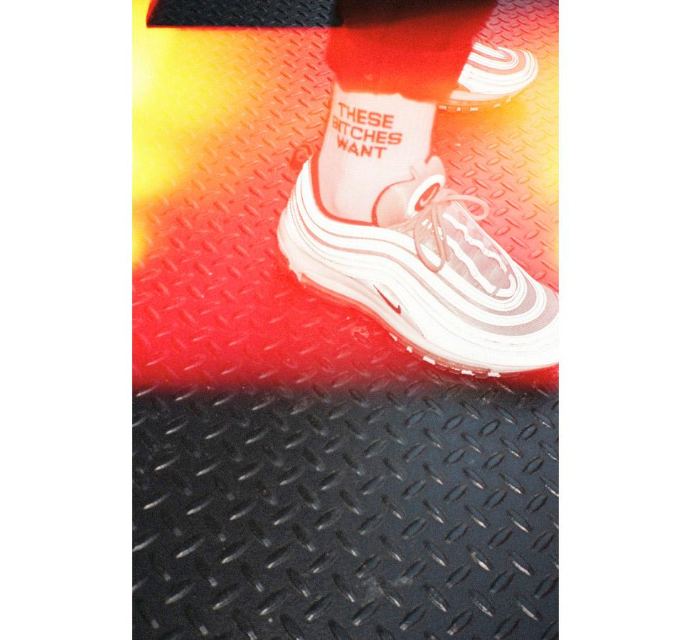 WHITE 'THESE BITCHES WANT' SUPIMA® CREW SOCKS