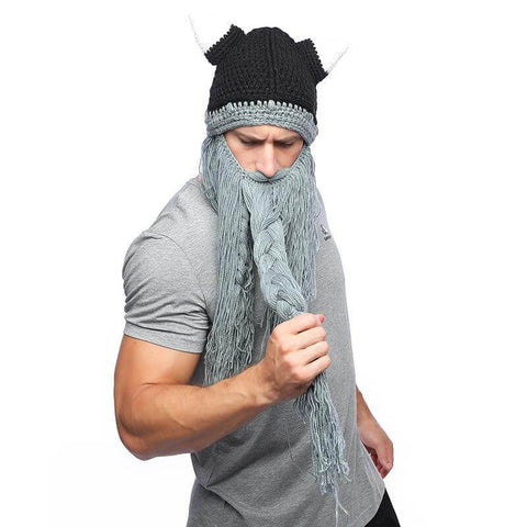 Barbarian Viking Knitted Hat With Beard