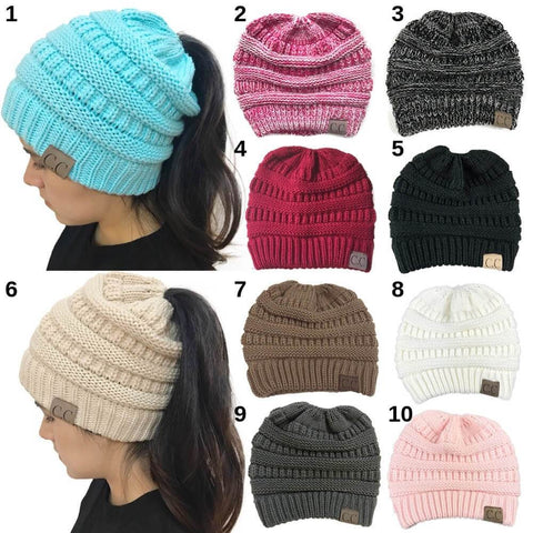 Ponytail Beanie - Soft Knit Hat
