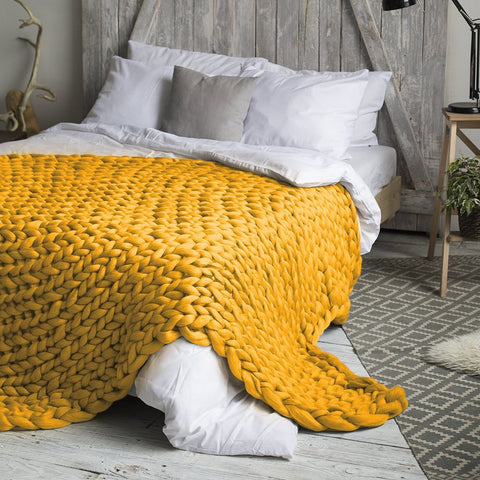 Image of Pleasant Handmade Chunky Knit Blanket