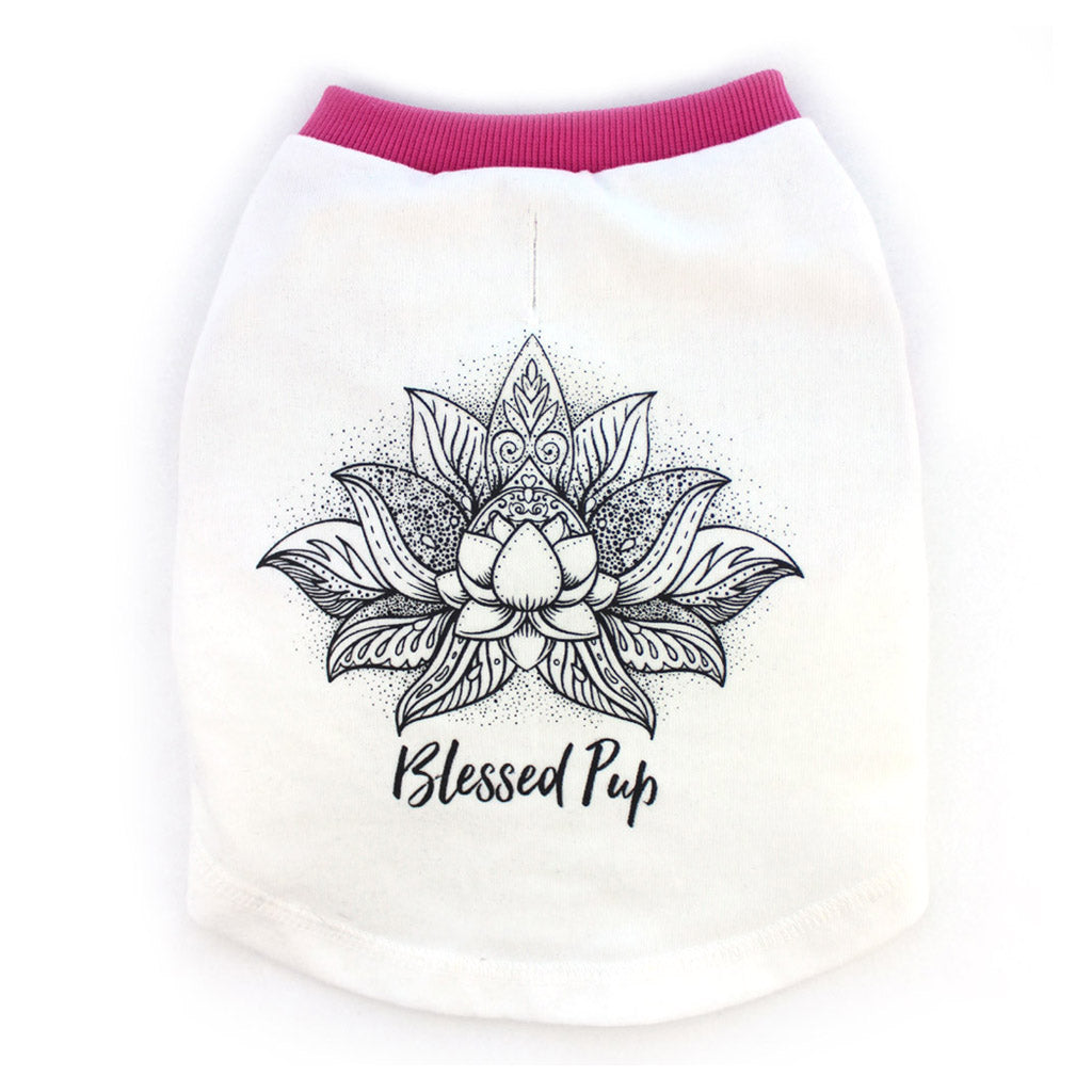"""Blessed Pup"" Lotus Graphic T-Shirt for Dogs w/ Dark Pink Trim"