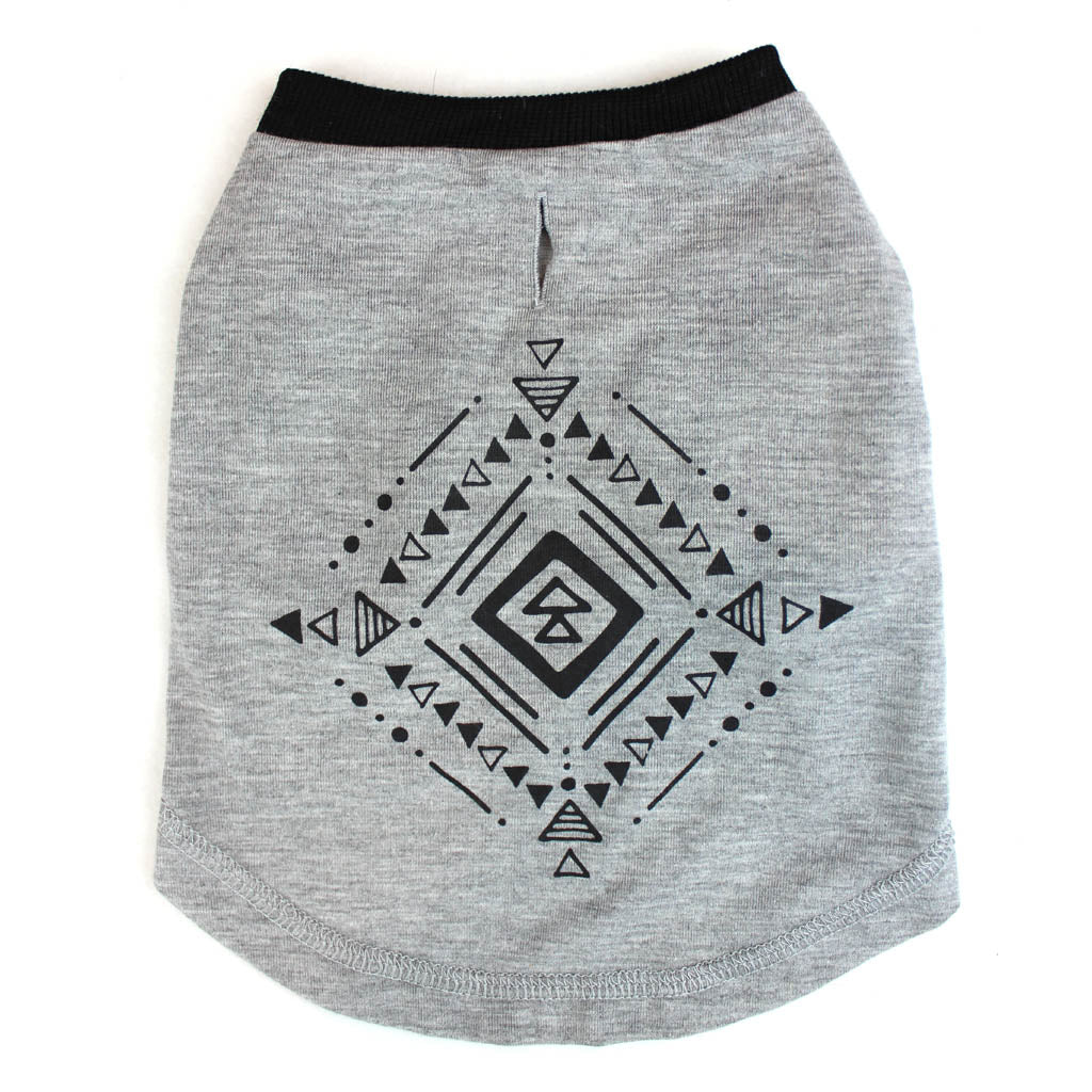 Tribal Print Gray T-Shirt for Dogs