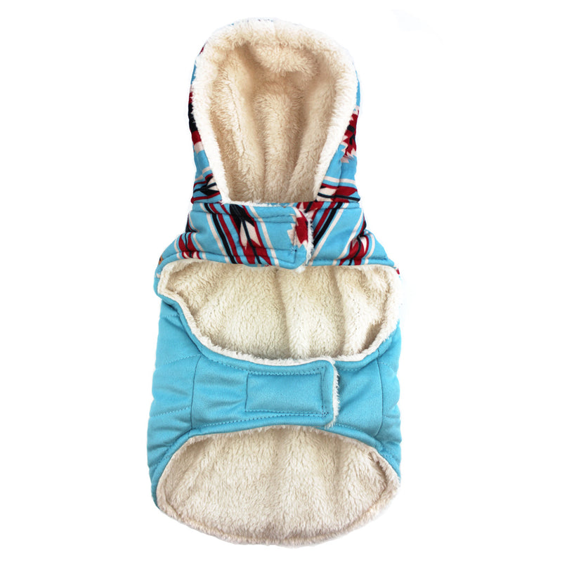 Tribal Print Light Blue Jacket for Dogs with Hood