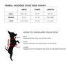 size chart for tribal print dog coat