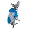 raglan style turquoise gray dog hoodie side view on sitting dog