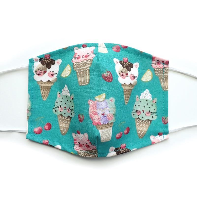 Ice Cream Kitties Cat print, 100% Cotton Face Mask, adjustable w/ nose wire & pocket