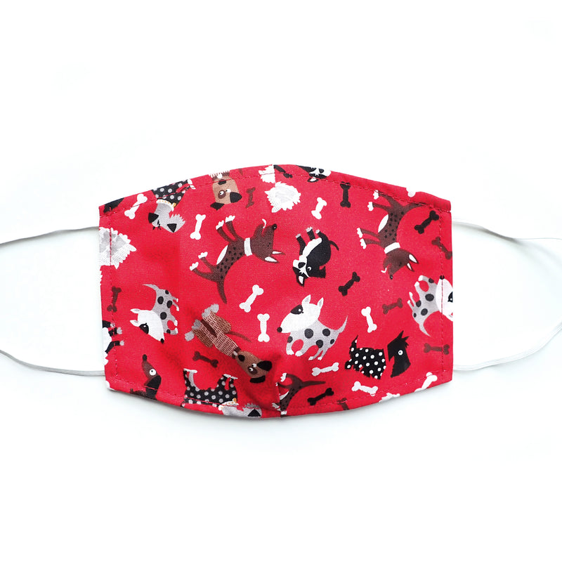 Red Cute Dogs Print, 100% Cotton Face Mask, adjustable w/ nose wire & pocket