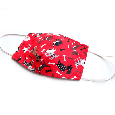 Red Cute Dogs Print, 100% Cotton Basic Face Mask (no nose wire, no pocket)