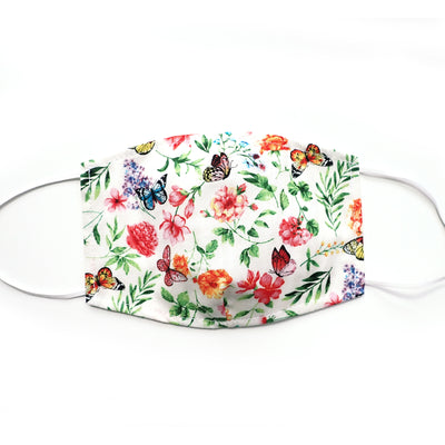 Butterfly Floral White, 100% Cotton Face Mask, adjustable w/ nose wire & pocket