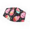 Sweet Treats Cupcake Print, 100% Cotton Face Mask, adjustable w/ nose wire & pocket