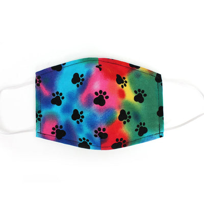 Rainbow Dog Paw Prints, 100% Cotton Face Mask, adjustable w/ nose wire & pocket