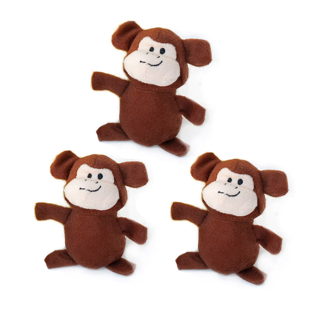Mini Monkey Dog Toys, 3 pack