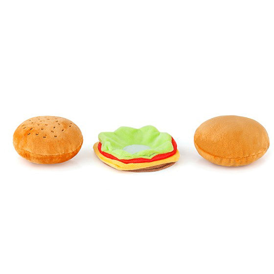 Classic American Burger Dog Toy