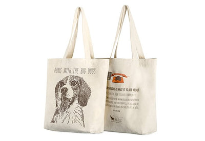 "Beagle Tote Bag ""runs with the big dogs"""