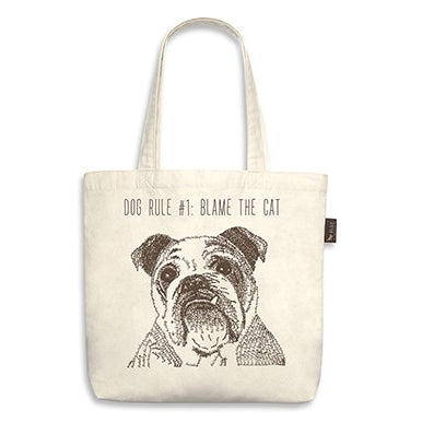 "Bull Dog Tote Bag ""dog rule #1: blame the cat"""