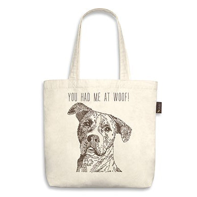 "Rescue Dog Tote Bag ""you had me at woof!"""