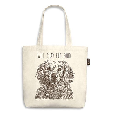 "Retriever Tote Bag ""will play for food"""