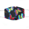 Rainbow Butterfly Print, 100% Cotton Face Mask, adjustable w/ nose wire & pocket