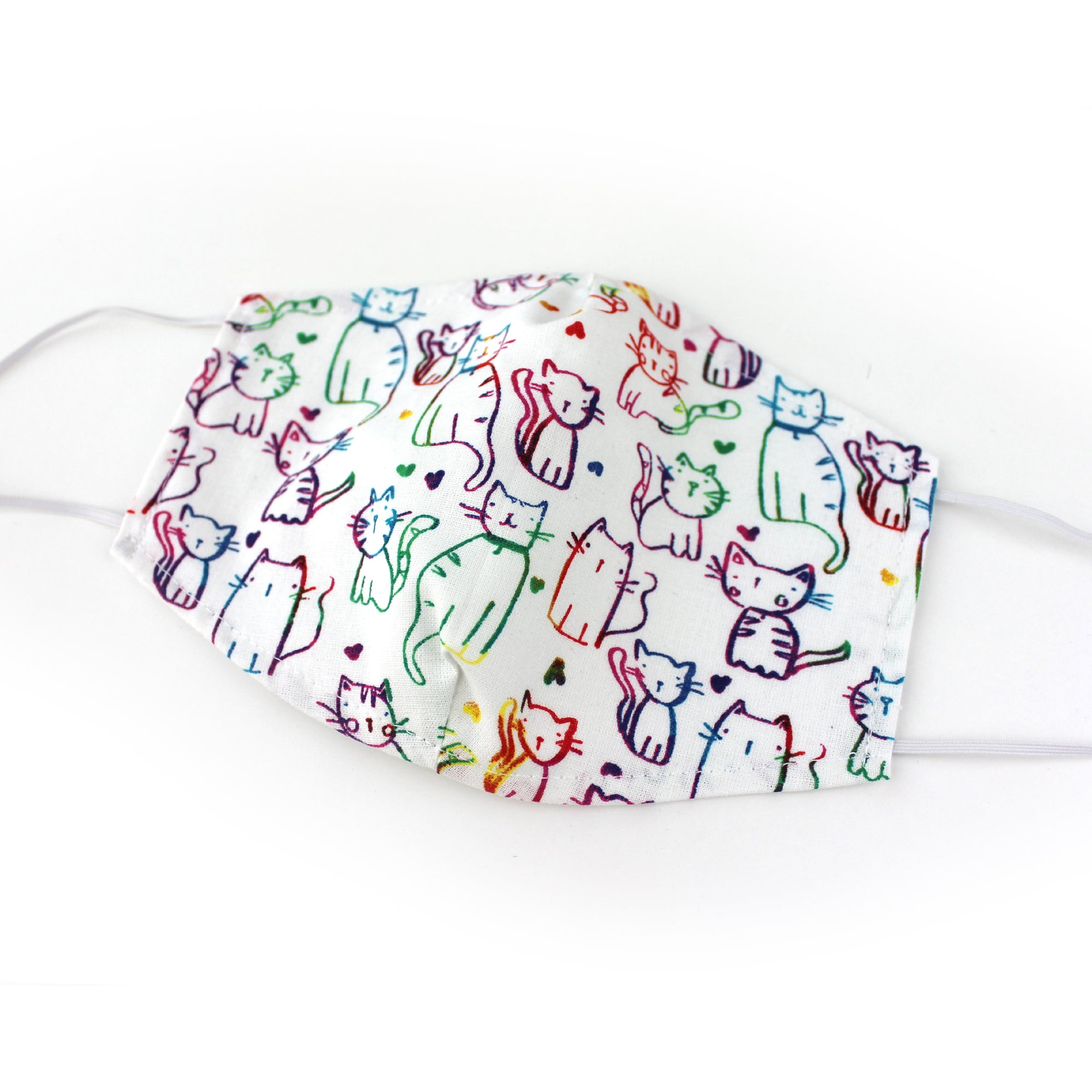 Rainbow Cats on white, 100% Cotton Face Mask, adjustable w/ nose wire & pocket