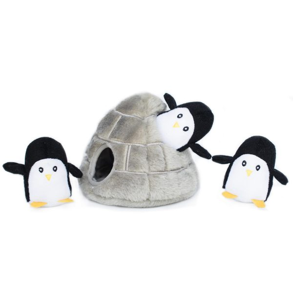 Penguins in a Cave Puzzle Plush Dog Toy