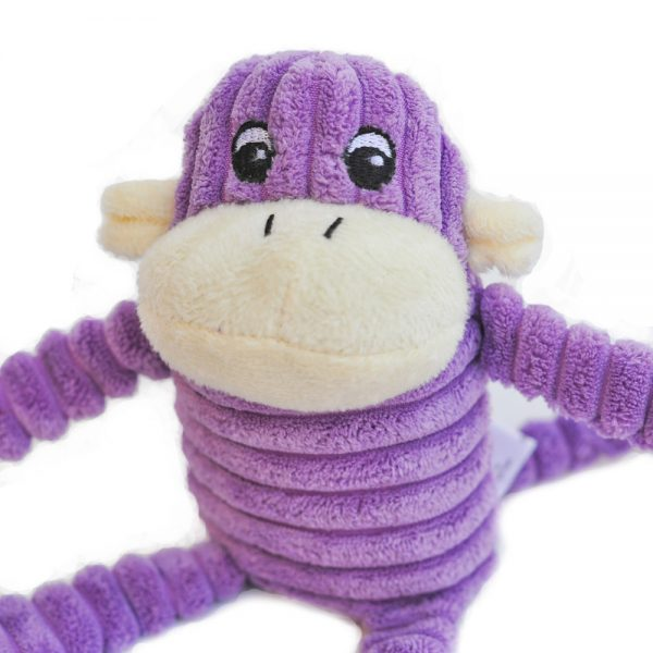 Spencer the Purple Crinkle Monkey Dog Toy, Small