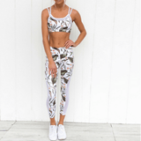 Floral 2 Piece Set With Sheer Side Panel - Plenty of Yoga