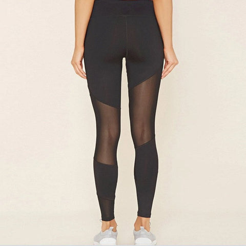 Black Sheer Panel Yoga Pants - Plenty of Yoga