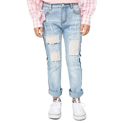 Girls Ripped Patch Jeans