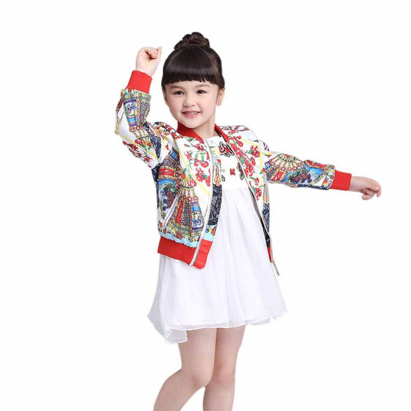 Ethnic Print Girls Casual Outerwear