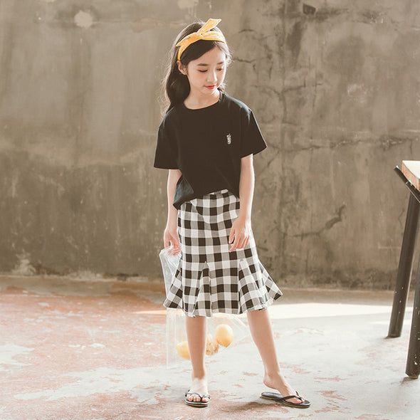 Summer Teenage Girl Short-sleeve Cotton T Shirt+Plaid Ruffle Skirt