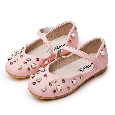 Pearl Leather Flat Shoes