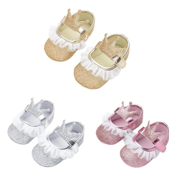 ee79ea7a1351 Toddler Newborn Baby Shoes Baby Girls Prewalker Anti-skid Soft Lace Shoes  Girl Princess Shoes