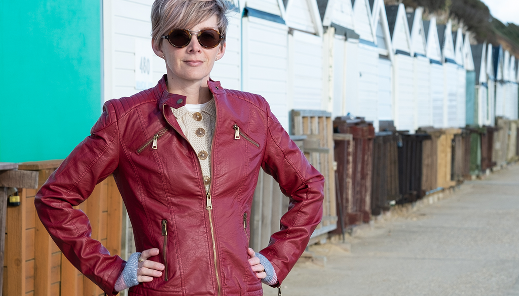 burgundy leather biker jacket with pockets for women