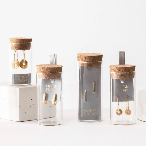 One & Eight Earrings and Necklaces in glass bottles Bournemouth