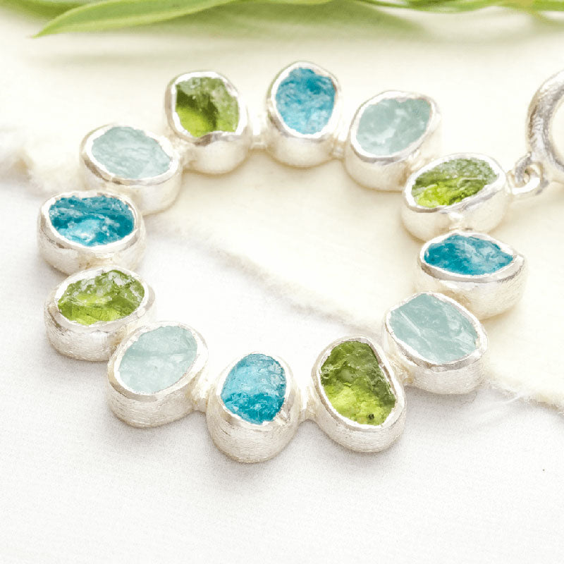 Stone Jewellery Silver and Gemstones, Rough Gemstone jewellery.