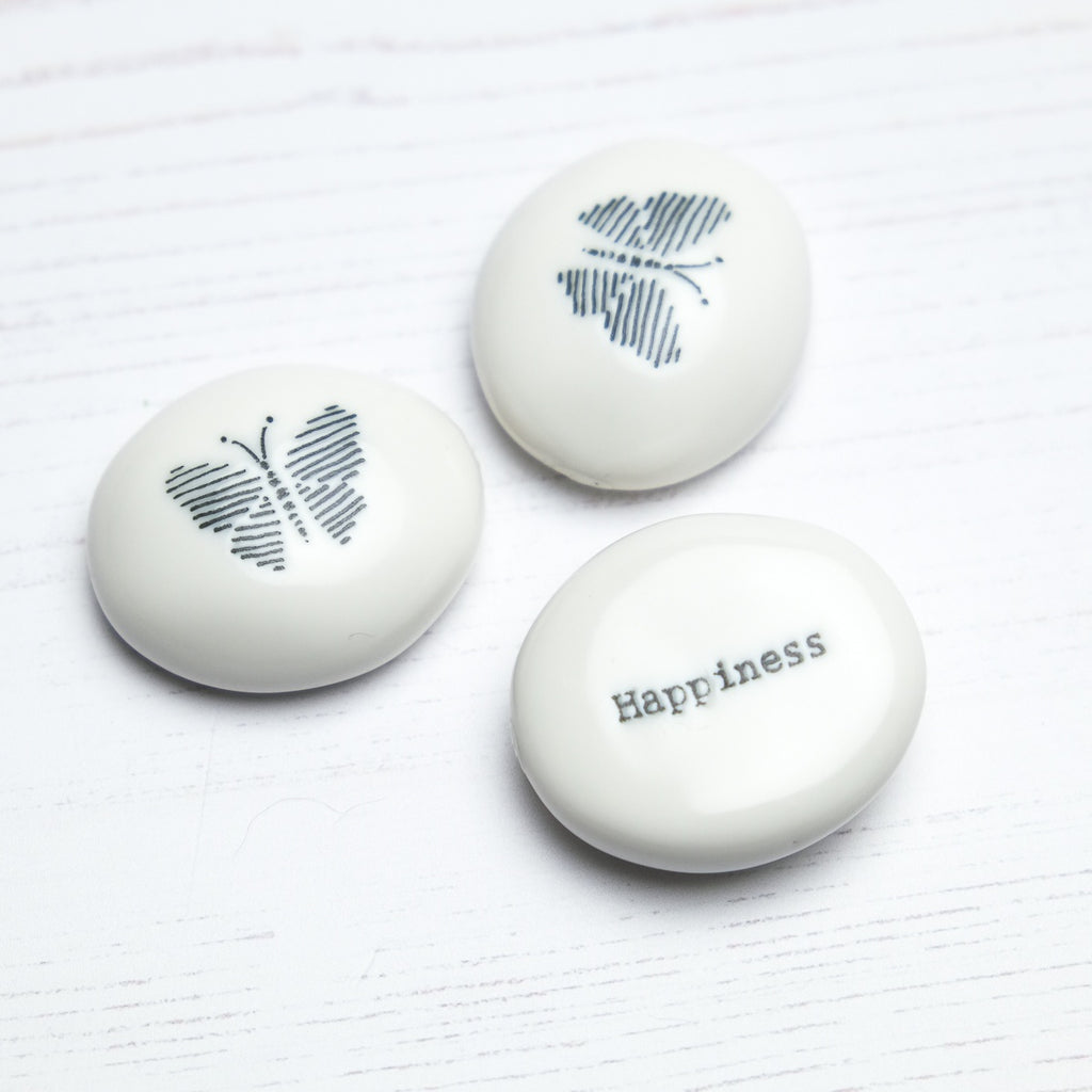 Porcelain Keepsake Pebble 'Happiness' - SugarMango